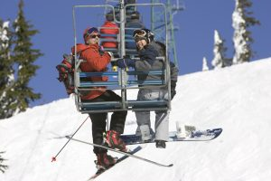 yes cycle Couple on Cypress Chairlift (1)