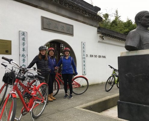 Chinese garden with yes cycle team